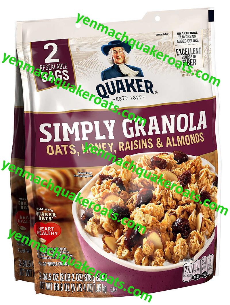 Yến Mạch Quaker Oats Granola (Ăn Liền) mẫu mới 2020 - 2021